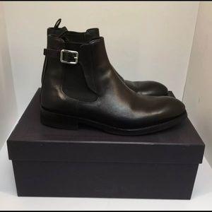 Prada Buckle-Strap Chelsea Boots